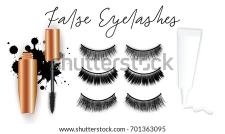 False eyelashes vector set, gold mascara tube, brush, glue tube with stroke, isolated on white background. Vector cosmetic promotional concept, grunge stains, realistic beauty objects. Fake eyelash.