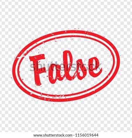 False oval stamp design on transparent background.  Grunge rubber oval stamp with word False in red for your web site design, logo, app, UI. Flat design. Vector illustration EPS10.
