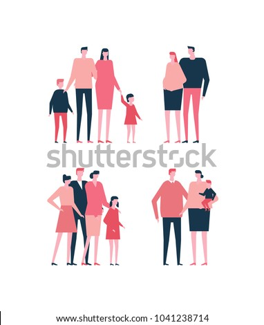 Families - flat design style set of isolated characters on white background. Cartoon young parents in casual clothes with their kids in different situations, happy couples