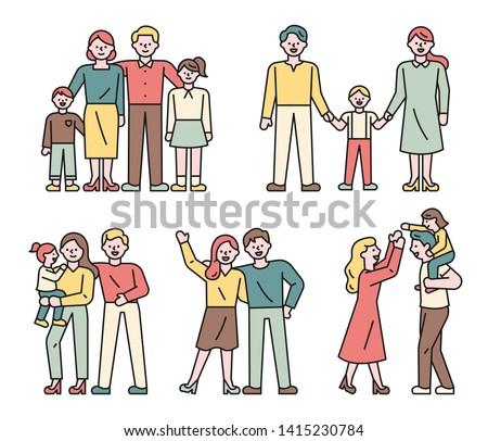 Families of various members. flat design style minimal vector illustration