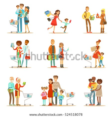 Families Shopping In Department Store And Shopping Mall Set Of Cartoon Characters Buying Products And Objects In The Shop