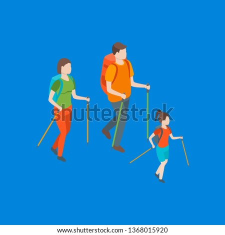 Families Spending Free Time 3d Isometric View Recreation Together. Vector illustration of People Leisure Hiking