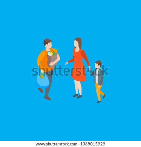 Families Spending Free Time 3d Isometric View Recreation Together. Vector illustration of People Leisure Walk