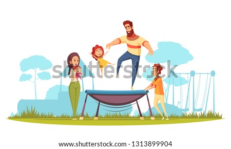 Family active holidays father with daughter during jumping on trampoline mom with kids as spectators vector illustration