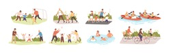 Family activities flat vector illustrations set. Happy childhood, active recreation. Happy parents and children cartoon characters pack. Outdoor games, football, roller skating, jogging and cycling.