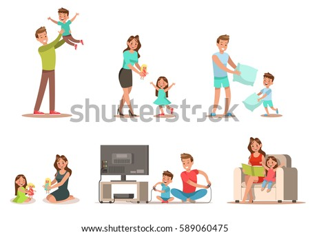 Family activity in home Includes playing game, playing doll, reading a book. Character design.