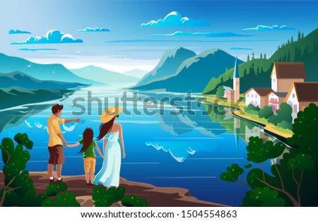 family admires nature