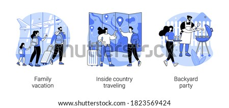 Family adventure and fun abstract concept vector illustration set. Family vacation, inside country traveling, backyard party, national park, weekend trip, friends meeting, BBQ abstract metaphor.