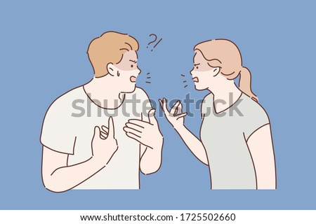 Family, agressive emotions concept. Young couple man husband and woman wife boyfriend and girlfriend friends cartoon characters yelling at each other. Quarrel conflict and troubles in relationships.