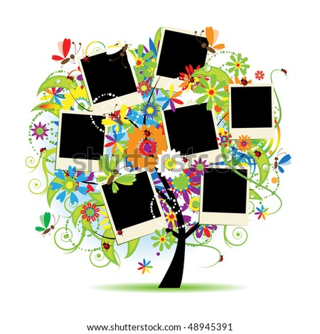 Family album. Floral tree with frames for your photos. - stock vector