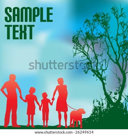 Family and a Green Environment - stock vector