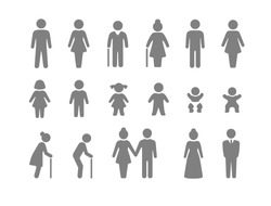 Family and friends icon set