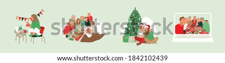Family and friends sharing gifts through video calls. Online christmas dinner on laptop. Opening presents alone at home. Quarantine holidays on self-isolation illustration. Multicultural people vector