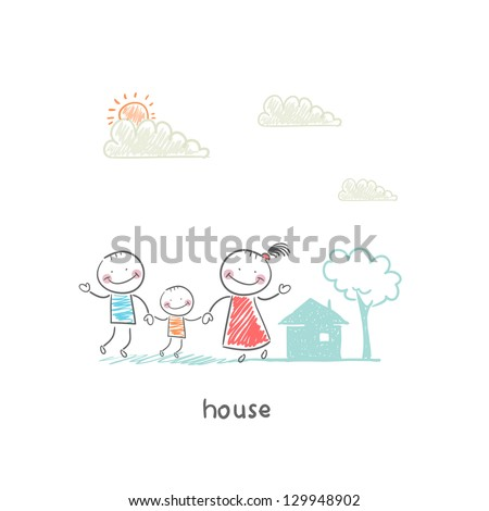 Family and home. Illustration.