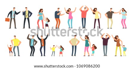 Family and professional conflict. Angry stressed swearing men, women and kids cartoon vector characters isolated. Illustration of people conflict, angry woman person