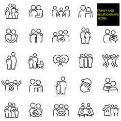 Family And Relationships Thin Line Icons -  stock illustration. A family of four, father with arm around shoulder of child, family of three holding hands, father with arm around shoulder of son.