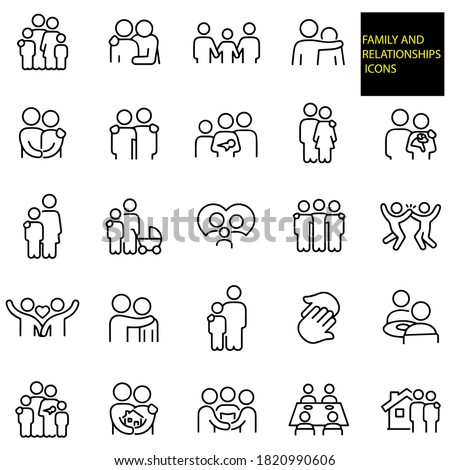 Family And Relationships Thin Line Icons -  stock illustration. A family of four, father with arm around shoulder of child, family of three holding hands, father with arm around shoulder of son. Stock photo ©