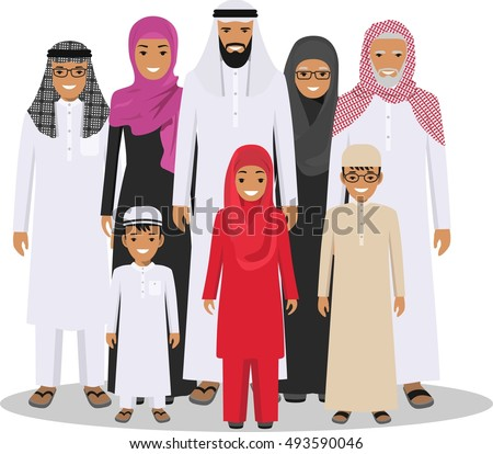 Family and social concept. Arab person generations at different ages. Muslim people father, mother, grandmother, grandfather, son and daughter standing together in traditional islamic clothes. Vector.