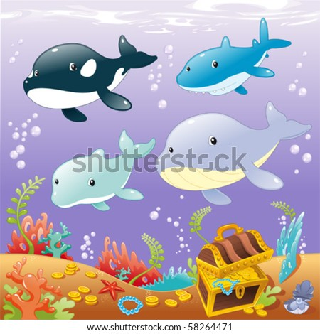 Family animals in the sea. Funny cartoon and vector illustration