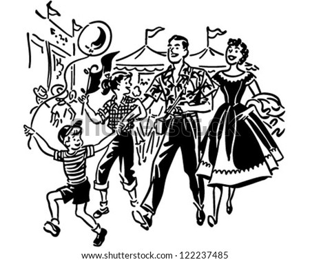 Family At Amusement Park - Retro Clipart Illustration