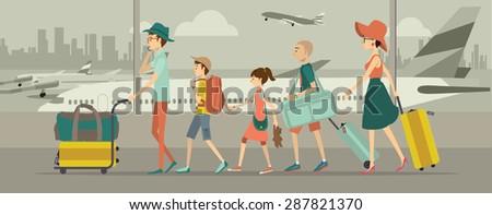 Family at an airport transit