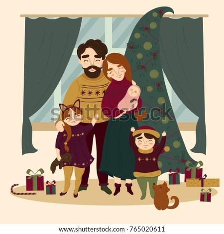 family at christmas all