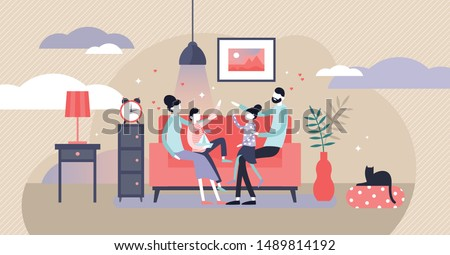 Family at home vector illustration. Flat tiny together joy persons concept. Cheerful evening happiness visualization with classical parents and children relationship. Comfort cozy apartment lifestyle.