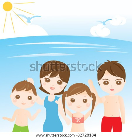 Family at the beach - stock vector