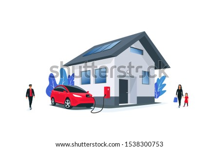 Family battery electric car charging at home charger station with solar panels on roof. Charge on house wall box EV charger. Space for your text. Isolated vector illustration on white background.