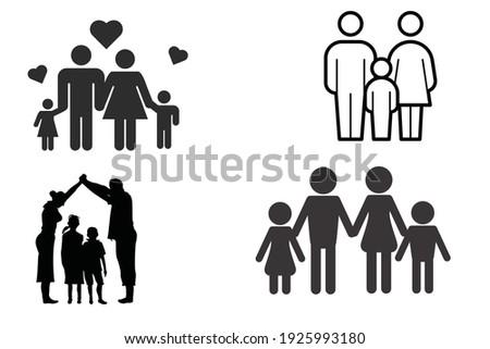family big family small family illustrations