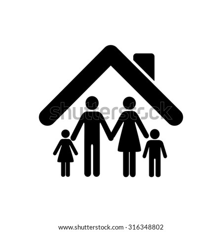 Family - black vector icon