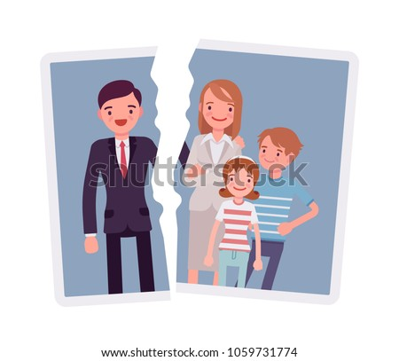Family breakup problem. A photo with rift between people, serious quarrel or spouse disagreement to end with divorce, split, loss of good relationship and love. Vector flat style cartoon illustration