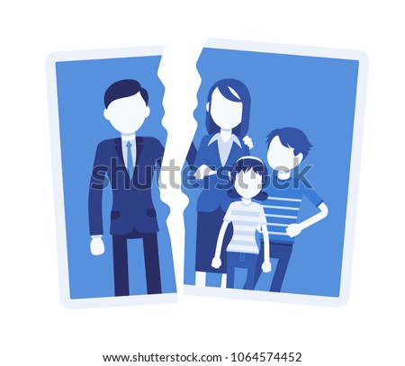 Family breakup problem. Photo with rift between people, serious quarrel, spouse disagreement, end with divorce, split, loss of good relationship and love. Vector illustration with faceless characters