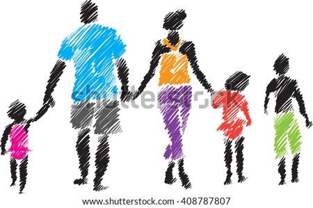 family brush style illustration