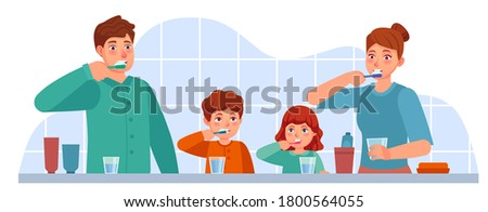 Family brush teeth. Parents and children brushing teeth together in bathroom. Parental parenting oral hygiene, dental care vector concept. Mother, father and kids with toothbrush and paste