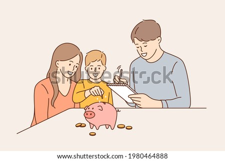 Family budget and saving money concept. Young positive family with child boy cartoon characters sitting and putting coins to pink piggybank to save earnings vector illustration