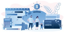 Family budget concept. Parents with kid. Money management. Wallet with banknotes and coins. Monthly planner,calculator and piggy bank. Retirement savings. Trendy style vector illustration