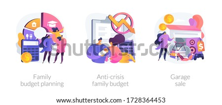 Family budget planning abstract concept vector illustration set. Anti-crisis family budget, garage sale, economic decision, family income, budget saving, flea market, second hand abstract metaphor.