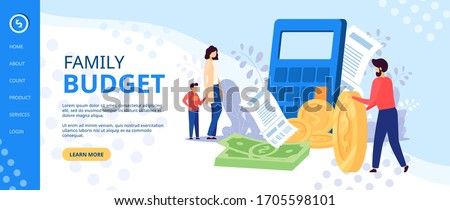 Family budget planning at crisis, money economy bank problem finance. Woman and man couple, people financial covid credit, tax business bill. People problems worried isolated home vector illustration.