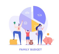 Family budget planning. Yong couple with child saving money and planning with piggy bank, calculator and coins. Concept of Family money, household finance. Vector illustration in flat cartoon design
