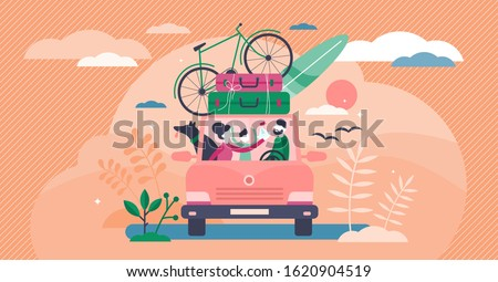 Family camping road trip concept, flat tiny persons vector illustration. Vacation weekend holiday journey in the sunset with mom, dad, son and loved dog. Loaded roof with luggage and leisure equipment