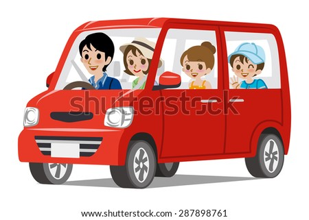 family car driving  side view