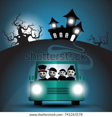 family cartoon on car in