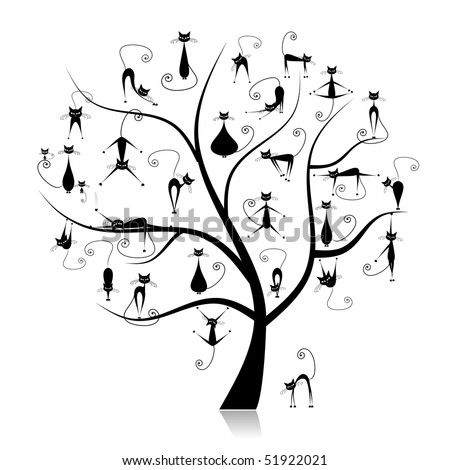 Family cats tree, 27 black silhouettes funny - stock vector