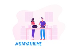 Family Characters Wearing Medical Masks Prepare Food Staying at Home during Covid19 Quarantine Self Isolation. Young Loving Couple Cooking Meal Together on Kitchen. Cartoon Vector People Illustration
