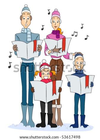 Family Christmas Carol - Vector