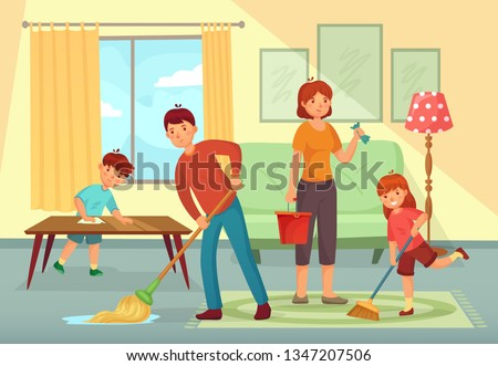 Family cleaning house. Father, mother and kids cleaning living room together. Housework family, domestic dirty floor cleaning or regular household working cartoon vector illustration