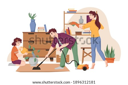 Family cleans house, vacuums carpet by vacuum cleaner, dust furniture, takes care about flower pots. Vector housework and house chores, mother, father and daughter tidy up flat, housekeeping Stock photo ©