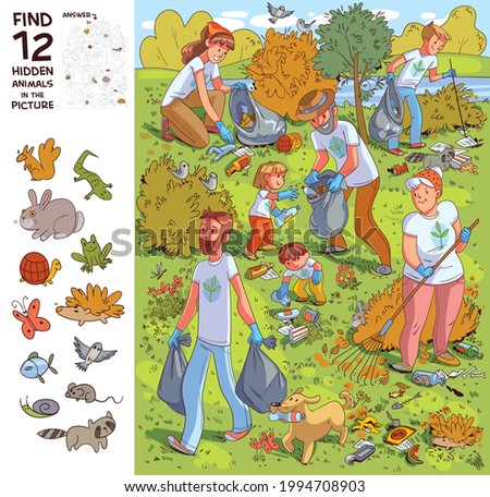 Family collects garbage on nature. Find all the animals in the picture. Find 12 hidden objects in the picture. Puzzle Hidden Items. Funny cartoon character Stock foto ©