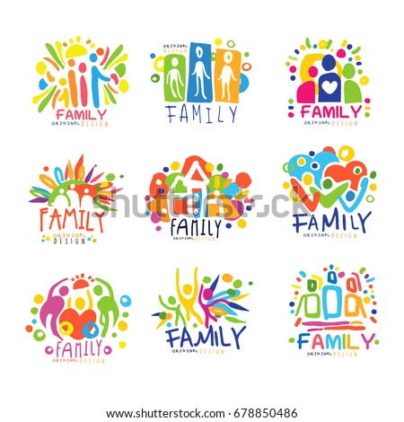 family colorful labels original
